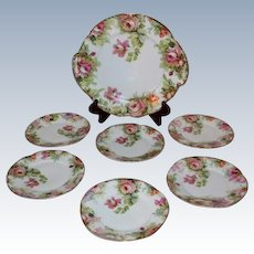 "Beautiful 7 Piece ""Louise"" Series Porcelain Desert Set~ Cake Plate and Six Matching Plates ~ Wonder Roses~J C Bavaria between 1898 and 1916"
