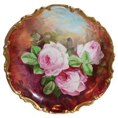 """OUTSTANDING Coronet 11 1/2"""" LIMOGES French Tea Roses ANTIQUE Wall PLAQUE ~ Artist Signed  """"A Maxz"""" ~  Completely Hand Painted Still Life ~ FAMOUS Artist"""