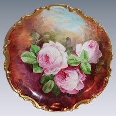 "OUTSTANDING Coronet 11 1/2"" LIMOGES French Tea Roses ANTIQUE Wall PLAQUE ~ Artist Signed  ""A Maxz"" ~  Completely Hand Painted Still Life ~ FAMOUS Artist"
