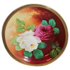 """OUTSTANDING 12 1/4"""" Coronet LIMOGES French Tea Roses ANTIQUE  Charger ~ Listed Artist """"Bronssillon""""~ Completely Hand Painted Original~ Breathtaking ROSES ~ Museum Quality Masterpiece Still Life Painting One-of-a-Kind Floral French Painting on Porcela"""