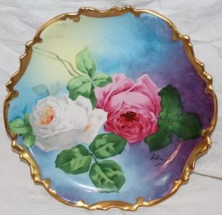 OUTSTANDING Coronet LIMOGES French Tea Roses ANTIQUE PLAQUE ~ Listed ...