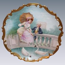 """OUTSTANDING Coronet 13 1/4"""" LIMOGES Lazeyras. Rosenfeld & Lehman (L.R. & L.) Figural Scene ANTIQUE Wall PLAQUE ~ LISTED Artist Signed """"Muville"""" ~ Completely Hand Painted Still Life ~ Ready to Hang on YOUR Wall!!"""