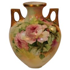 Breathtaking LARGE Porcelain VASE with HAND PAINTED ROSES ~ Masterpiece Stunning Still Life Painting on Porcelain
