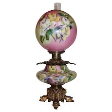 OUTSTANDING LARGE Jumbo Gone with the Wind Banquet Oil Lamp ~Masterpiece Breathtaking BEAUTY WITH RARE DOLPHIN BASE ~ Fancy Ornate Font Spill Ring and RARE Base~ Original Condition ~Original Parts