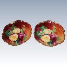"""OUTSTANDING PAIR of 13 1/4"""" Coronet LIMOGES Roses ANTIQUE PLAQUES ~ Listed Artist """"Bronssillon""""~ Completely Hand Painted Originals ~ Breathtaking ROSES ~ Museum Quality Masterpieces"""