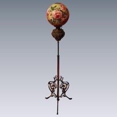 """Antique Victorian Piano Floor Lamp ~Original 12"""" Shade ~ Original Oil Burning Condition."""