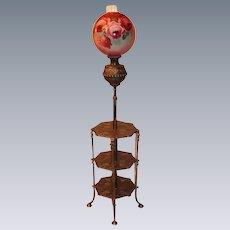 "Antique Victorian Bradley Hubbard Piano Floor Lamp ~Original 14"" Hand Painted Shade ~ Original Oil Burning Condition"