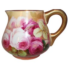 """OUTSTANDING Blakeman and Henderson Limoges Lemonade or Cider Pitcher~ Outstanding Hand Painted Roses~Famous Artist """"Sena""""~Very Early 1900's"""