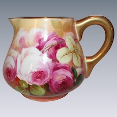 "OUTSTANDING Blakeman and Henderson Limoges Lemonade or Cider Pitcher~ Outstanding Hand Painted Roses~Famous Artist ""Sena""~Very Early 1900's"