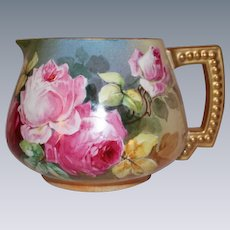 """AMAZING JPL Limoges Lemonade or Cider Pitcher~ Outstanding Hand Painted Roses~Famous Artist """"Leona""""~ Made between 1890 - 1932"""