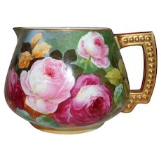 "Beautiful JPL Limoges Lemonade or Cider Pitcher~ Outstanding Hand Painted Roses~Famous Artist ""Leona""~ Made between 1890 - 1932"
