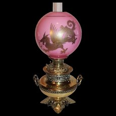 VERY RARE EXCEPTIONAL B&H (Bradley Hubbard) Aesthetic Banquet Lamp ~RARE  Cased Glass Ball Shade with GOLD Enameled Dragon or Griffin