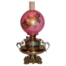VERY RARE EXCEPTIONAL B&H (Bradley Hubbard) Aesthetic Dragon/ Griffin Banquet Lamp ~RARE Cased Glass Ball Shade with GOLD Enameled Dragon or Griffin ~ Electrified - Red Tag Sale Item