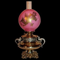 VERY RARE EXCEPTIONAL B&H (Bradley Hubbard) Aesthetic Dragon/ Griffin Banquet Lamp ~RARE Cased Glass Ball Shade with GOLD Enameled Dragon or Griffin ~ Electrified