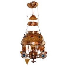 WOW! Outstanding Victorian Ansonia Hanging Library Kerosene Oil Lamp ~ VERY RARE Jeweled Frame ~ Outstanding Butterscotch Hobnail Shade with Matching Butterscotch Hobnail Smoke Bell~ All Original Butterscotch  Prisms ~MANY EXTRAS