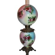 BEAUTIFUL Gone with the Wind Kerosene Banquet Lamp ~Masterpiece Breathtaking Rainbow Lamp with HAND PAINTED ROSES~ Outstanding Fancy Ornate Font Spill Ring and Base~ Original Condition ~Original Parts