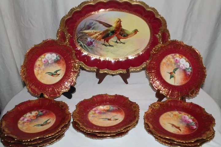 HUGE Coronet Limoges Wild Game Platter ~ Signed by the Artist : B ...
