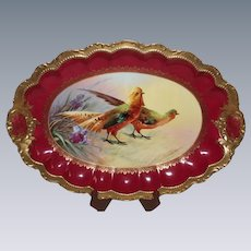 HUGE Coronet Limoges Wild Game Platter ~ Signed by the Artist