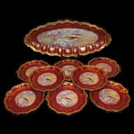 """Wonderful Limoges Fish Set with 9 Plates and HUGE Serving Platter ~ Set Features French Tea Roses and Trout Fish ~ Listed Artist """"Bronssillon""""~ Completely Hand Painted Originals"""