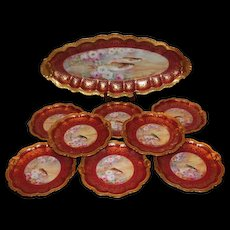 "Wonderful Limoges Fish Set with 9 Plates and HUGE Serving Platter ~ Set Features French Tea Roses and Trout Fish ~ Listed Artist ""Bronssillon""~ Completely Hand Painted Originals"