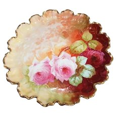 """Wonderful LARGE 11"""" Scalloped Coronet Limoges Serving Tray~ Rare Find Featuring French Tea Roses ~ Listed Artist """"Bronssillon""""~ Completely Hand Painted Original ~ Breathtaking ROSES"""