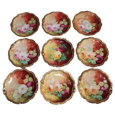 """Wonderful Set of 9 Antique Limoges Dessert Plates Featuring French Tea Roses ~ Listed Artist """"Bronssillon""""~ Completely Hand Painted Originals ~ Breathtaking ROSES"""