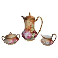Wonderful Limoges Coffee / Chocolate Pot with Matching Sugar & Creamer Set