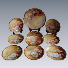 "Wonderful Luncheon or Dessert  Set Including 9 Antique  Plates  and a LARGE Charger Tray Featuring French Tea Roses ~ Listed Artist ""Bronssillon""~ Completely Hand Painted Originals"