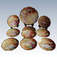 """Wonderful Luncheon or Dessert  Set Including 9 Antique  Plates  and a LARGE Charger Tray Featuring French Tea Roses ~ Listed Artist """"Bronssillon""""~ Completely Hand Painted Originals"""