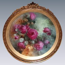"""Breathtaking Large 16 1/2"""" JPL Limoges Porcelain Plaque with HAND PAINTED ROSES ~ Museum Quality Masterpiece Still Life Painting on Porcelain ~ Signed by the Artist """"C. W. Morgan"""