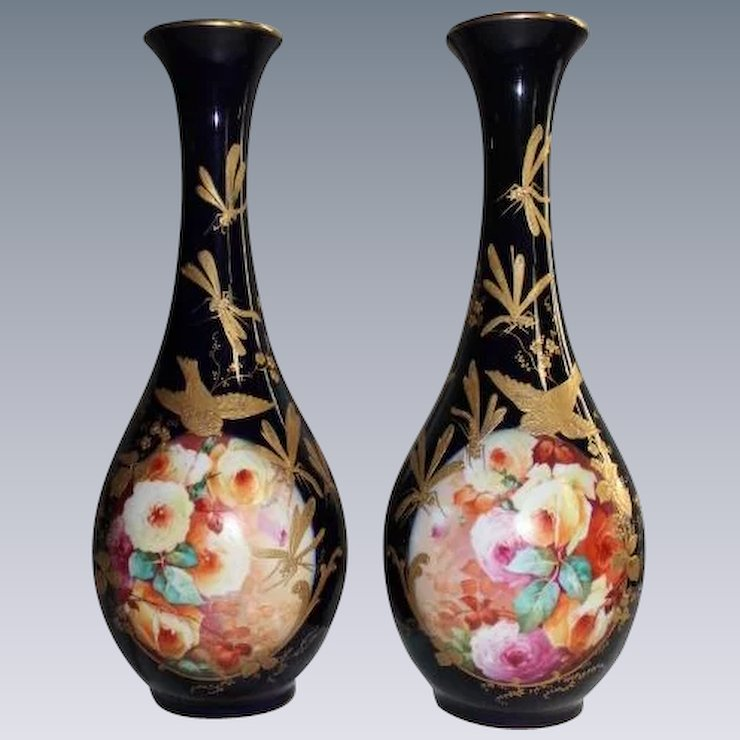 Rare Antique Hand Painted French Masterpiece Vases Breathtaking