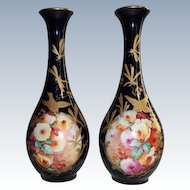 "RARE Antique Hand Painted French Masterpiece Vases~ Breathtaking HAND PAINTED ROSES"" ~ Outstanding Raised Gilding ~ RICH COBALT Blue Background"