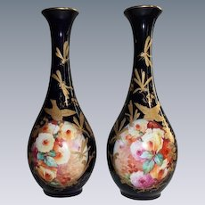 """RARE Antique Hand Painted French Masterpiece Vases~ Breathtaking HAND PAINTED ROSES"""" ~ Outstanding Raised Gilding ~ RICH COBALT Blue Background"""