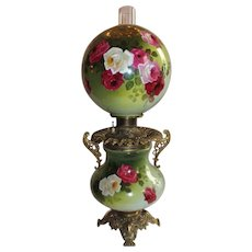 """VERY RARE Gone with the Wind Banquet Oil Lamp ~ 11"""" SHADE~Masterpiece Breathtaking BEAUTY WITH HAND PAINTED ROSES~ Outstanding Fancy Ornate Handled Font Spill Ring and Base~ Original Condition ~Original Parts"""