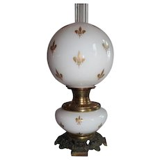 RARE B&H (Bradley Hubbard)  Fleur-De-Lis Cased Glass Gone with the Wind Banquet Lamp ~RARE Cased Glass with GOLD Enameled Fleur-De-Lis'