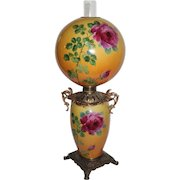 """HUGE JUMBO Gone with the Wind Banquet Oil Lamp ~RARE 13"""" SHADE~Masterpiece Breathtaking BEAUTY WITH HAND PAINTED ROSES~ Outstanding Fancy Ornate Handled Font Spill Ring and Base~ Original Condition ~Original Parts"""