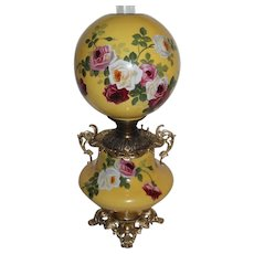 """Outstanding Hand Painted Gone with the Wind Banquet Oil Lamp with ROSES ~RARE 11"""" Shade ~ Outstanding Fancy Ornate Handled Font Spill Ring and Base~ Original Condition ~Original Parts"""