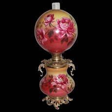 "Outstanding Hand Painted Gone with the Wind Banquet  Oil Lamp with PEONIES ~RARE 11"" Shade ~ Outstanding Fancy Ornate Handled Font Spill Ring and Base~ Original Condition ~Original Parts"