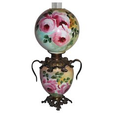 Outstanding Hand Painted Gone with the Wind Banquet Oil Lamp with ROSES ~RARE Handled Font Ring and Base ~ Original Condition ~Original Parts