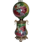 """LARGE  Gone with the Wind Banquet Oil Lamp ~RARE 11"""" SHADE~Masterpiece Breathtaking BEAUTY WITH HAND PAINTED ROSES~ Outstanding Fancy Ornate Handled Font Spill Ring and Base~ Original Condition ~Original Parts"""