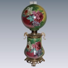 """GORGEOUS LARGE  Gone with the Wind Banquet Oil Lamp ~RARE 11"""" SHADE~Masterpiece Breathtaking BEAUTY WITH HAND PAINTED ROSES~ Outstanding Fancy Ornate Handled Font Spill Ring and Base~ Original Condition ~Original Parts"""