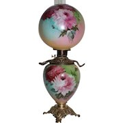 """LARGE Gone with the Wind Banquet Oil Lamp ~RARE 11"""" SHADE~Masterpiece Breathtaking  Hand Painted BEAUTY WITH MUMS Outstanding Fancy Ornate Handled Font Spill Ring and Base~ Original Condition ~Original Parts"""