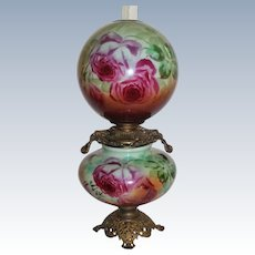 """HUGE Gone with the Wind Banquet Oil Lamp ~RARE 13"""" SHADE~Masterpiece Breathtaking BEAUTY WITH HAND PAINTED ROSES~ Outstanding Fancy Ornate Handled Font Spill Ring and Base~ Original Condition ~Original Parts"""