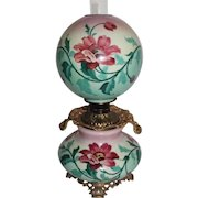 """HUGE Gone with the Wind Banquet  Oil Lamp ~RARE 12"""" SHADE~Masterpiece Breathtaking BEAUTY WITH HAND PAINTED LILIES ~ Outstanding Fancy Ornate Handled Font Spill Ring and Base~ Original Condition ~Original Parts"""