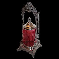 """RARE and Very Ornate Simpson Hall & Miller Aesthetic Victorian Pickle Castor~ Circa 1880's~Outstanding Blown Out """"Pickles"""" Glass"""
