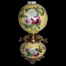 """Outstanding Hand Painted Gone with the Wind Oil Lamp with ROSES  ~ 10"""" Shade ~ Outstanding Fancy Ornate Handled Font Spill Ring and Base~ Original Condition ~Original Parts"""