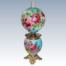 """Outstanding Hand Painted Gone with the Wind Oil Lamp with ROSES ~ 10"""" Shade ~ Outstanding Fancy Ornate Font Spill Ring and Base~ Original Condition ~Original Parts"""