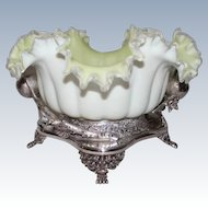 WOW!!  Fancy 1880's Meriden #01557 Figural Apple Branch  Brides Basket ~Ruffled Melon Ribbed Art Glass Bowl W/ Yellow Satin Interior And White Satin Exterior  ~ Great Fit