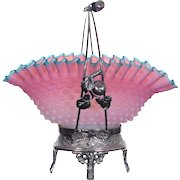 WOW!!  Fancy 1880's Pairpoint #2199 Figural Apple Branch  Brides Basket ~  RARE Napoleon Hat Shape Pink And White Frosted Hobnail Art Glass Bowl With Applied Blue Rim ~ Great Fit
