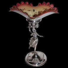 Wonderful Figural Lady Barbour #249 Brides Basket ~ Unusual Square Cranberry, Vaseline And Opal Ware Bowl With Enamel Decor